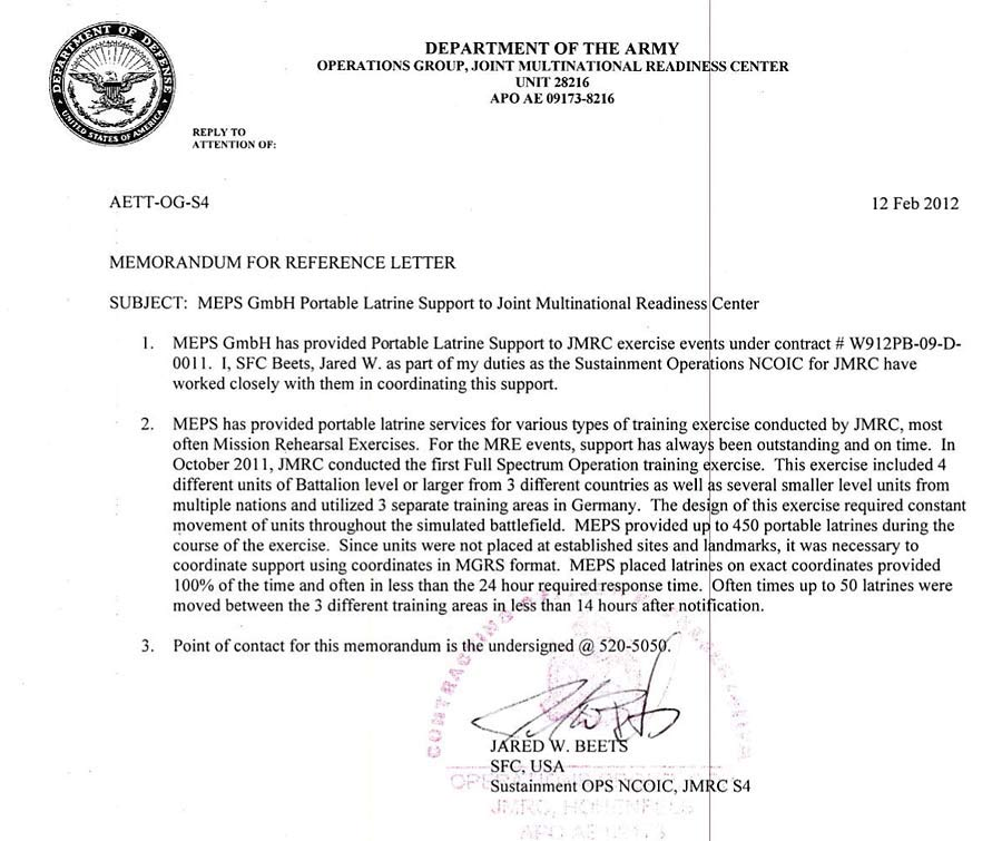 military recommendation letter
